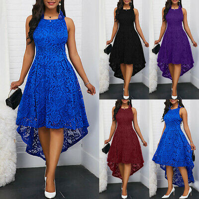Women Solid Color Lace High Low Sleeveless Party Summer Dress Stun Plus Size  • 22.98£