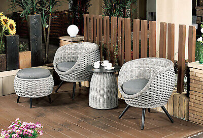 AU1107.99 • Buy 4PCs Outdoor Furniture Wicker Setting Table&Chairs Cushion Patio Porch Garden