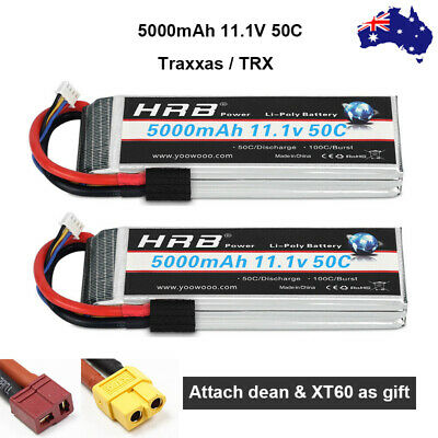 AU113.84 • Buy 2pcs HRB 3S 5000mAh 11.1V LiPo Battery 50C For Traxxas Truck Car TRX With T XT60
