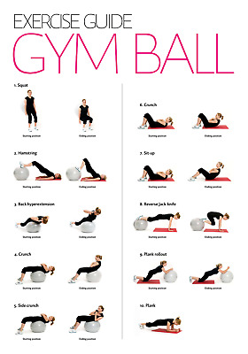 GYM BALL WORKOUT Poster   A4 A3 A3+ Lamination   HD Print   FITNESS EXERCISES • 6.99£