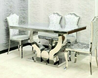 The Julianne Grey Marble Dining Set With 4/6 Crushed Silver Dining Chairs 1.5m • 1,099£