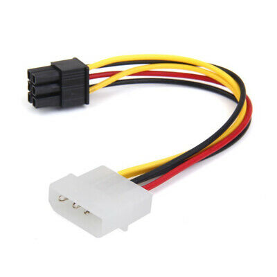 4-Pin Male To 6-Pin Female Socket Power Cable For PCIe PCI Express Adapter T8W6 • 1.70£