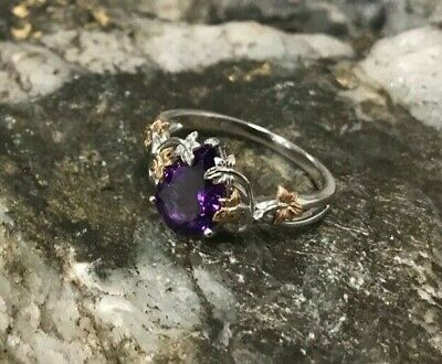 Welsh Clogau 18ct White & Rose Gold Great Vine Amethyst Ring £450 Off! Size O • 500£