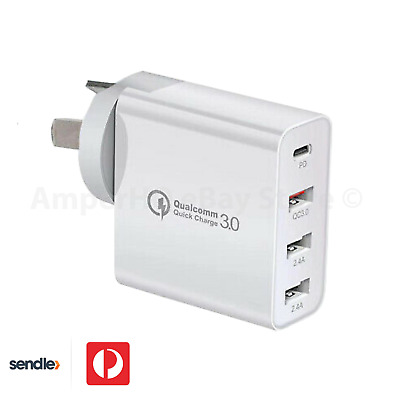 AU29.95 • Buy 48W 4-Port Qualcomm Charger Quick Charge 3.0 USB C Wall Power Adapter 30W Type C