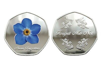 'Forget Me Not' Single Flower Silver Plated Commemorative Coin / Dementia • 7.99£