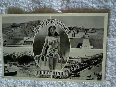 VINTAGE BIKINI CARD;WORTHING; SUSSEX;B&W MULTIVIEW CARD; 1940s • 16£