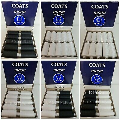 £8.99 • Buy COATS MOON TKT120 FULL BOX OR 5/5 MIX OF 10x1000Y  SPUN POLYESTER SEWING THREAD