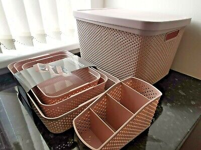 £14.89 • Buy Small Large Plastic Storage Box With Lid Basket Container Kitchen Home Office