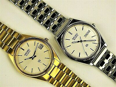 $ CDN127.37 • Buy Lot Of 2 Men's SEIKO SQ Quartz Watches-1 Steel -1 Gold Tone-Both Clean & Working