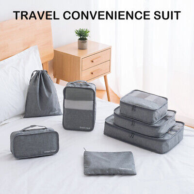 AU12.99 • Buy 7Pcs Packing Cubes Travel Pouch Luggage Organiser Clothes Suitcase Storage Bags