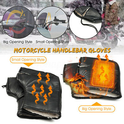 Pair Motorcycle Bike Scooter Handle Bar Grip Muffs Gloves Cycling Warm   • 11.96£