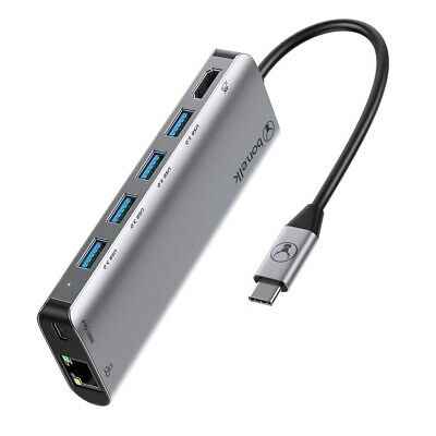 AU109 • Buy Bonelk USB-C 7-in-1 Multiport Hub/Adapter W/Ethernet/USB-C/HDMI/USB-A Ports Grey