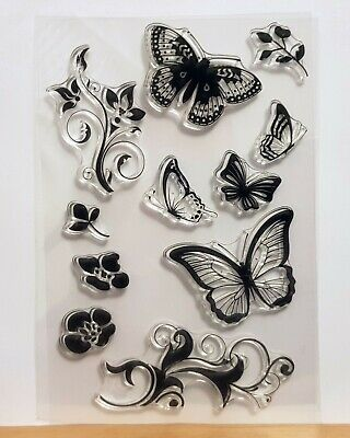 £3.49 • Buy Butterfly Vines Clear Stamp Sheet - Butterflies, Flowers, Leaves – FREE P & P
