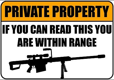 PRIVATE PROPERTY SNIPER GUN WARNING SIGN METAL PLAQUE Humorous Funny Poster • 4.50£