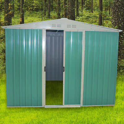 10X8FT Metal Garden Shed Outdoor Storage House Apex Roof WITH FREE FOUNDATION • 339.99£