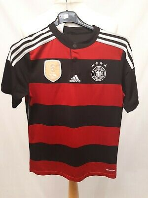 Retro Adidas Germany Away Football Shirt 2014 - Age 11-12 Years - Red & Black • 7.67£