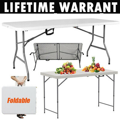 Folding Table 1.5/1.2M 5/4FT Portable Chairs Stools Camping Garden Party Trestle • 11.90£