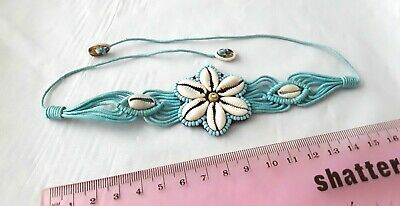 Costume Jewellery Boho Shell Flower Blue String Tie Bracelet M145 • 3.25£