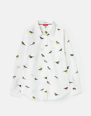 Joules Womens 211158 Bci Cotton Printed Woven Shirt - White Birds • 23.96£