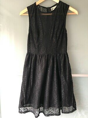 £7 • Buy Hearts & Bows Black Lace Fit And Flare Dress Size 8