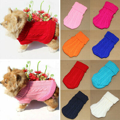 £3.39 • Buy Pet Dog Cat Warm Clothes Coat Knitted Sweater Jacket Vest Chihuahua Puppy Shirts