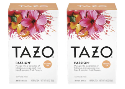 Tazo Passion Herbal Tea - 2 Boxes - 40 Tea Bags Fast Shipping Discount • 12.55£
