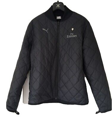 Mens Jacket Arsenal Badge  Fly Emirates  Size M Medium Zip Black Quilted  NEW  • 26.45£