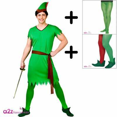 £16.95 • Buy Mens Peter Robin Hood Elf COSTUME + TIGHTS + SHOES Adults Book Day Fancy Dress