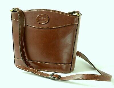Vintage CARRIAGE Jane Shilton CHESTNUT BROWN LEATHER CROSSBODY / BUCKET BAG Sml • 36£