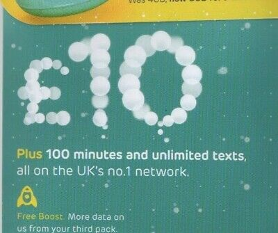 £2.99 • Buy EE Pay As You Go Sim Card With £10 Preloaded Credit 4GB Data Unlimited Text 4G