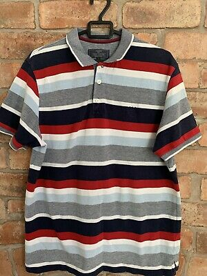 Atlantic Bay Red Blue White Stripe Embroidered Short Sleeve Polo Top Size L BHS • 6.99£