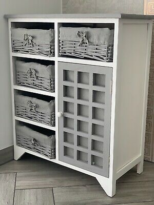 Grey Rustic Storage Unit Cupboard Chest Of Drawers Wicker Baskets Vintage Rattan • 179.95£