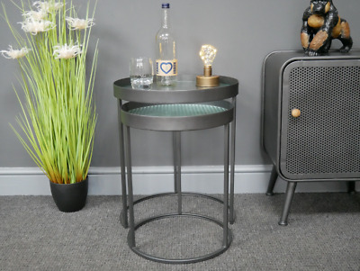Set Of 2 Coffee Side Table Living Room Furniture Glass End Nest Round Modern  • 115£
