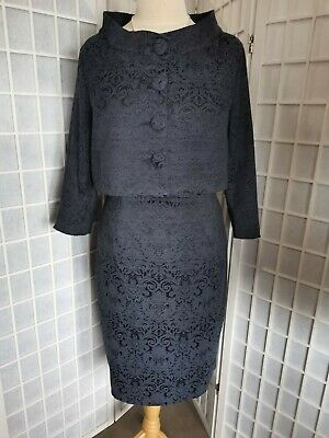 Lindy Bop Maybelle Navy Jacquard Two Piece Suit - Dress And Jacket 16 BNWT • 40£