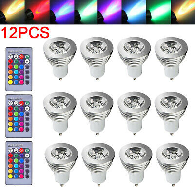 16 Color Changing 4-12PCS GU10 RGB Dimmable LED Light Bulbs Lamp RC Remote Spot • 10.79£