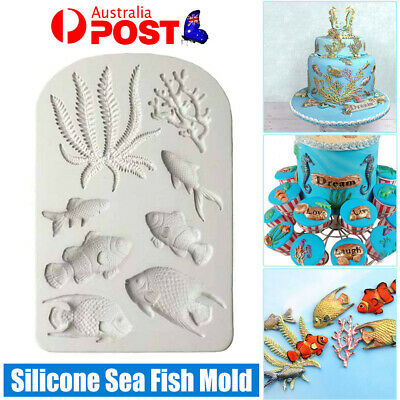 AU7.59 • Buy Silicone Sea Fish Coral Fondant Cake Decorating Mold Sugarcraft Icing Mould Tool