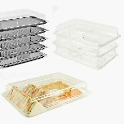 5 X Large Buffet Platters & 5 Large Glass Effect Dips/Sandwiches Trays With Lids • 10.49£