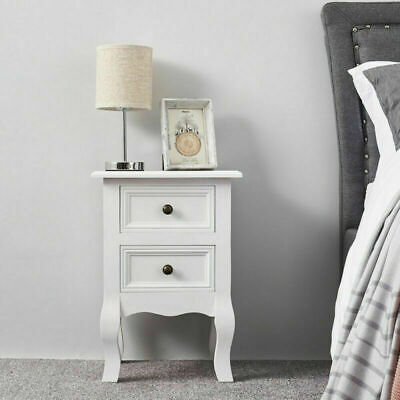 2 Drawers Wood Bedside Table Nightstand Storage Cabinet Bedroom Furniture White • 33.99£