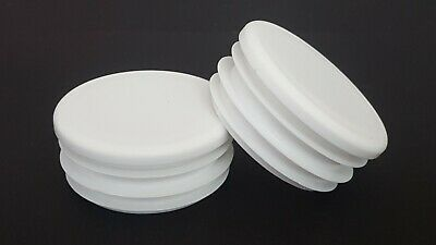 50mm-100pcs Round Plastic White Blanking End Cap Caps Tube Pipe Inserts Plug • 39.27£