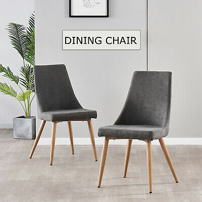 AU139 • Buy 2Pcs Dining Chairs Fabric Seat Wood High Back Grey  Kitchen Cafe Office