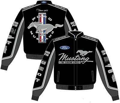 JH DESIGN  Ford Mustang Collage Mens Black Twill Jacket Small • 149£