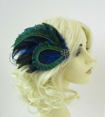 Blue Black Green Peacock Feather Fascinator Hair Clip 1920s Cocktail Vtg 0691 • 12.95£