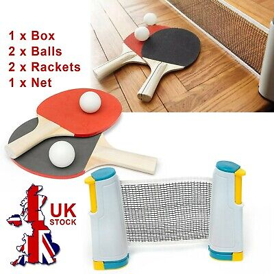 Portable Retractable Table Tennis Set Kit, Ping Pong 2 Bats With Expandable Net • 10.65£