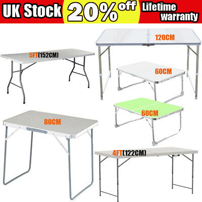 2.6/4/5ft Heavy Duty Folding Table Portable Plastic Camping Garden Party Caterin • 23.55£