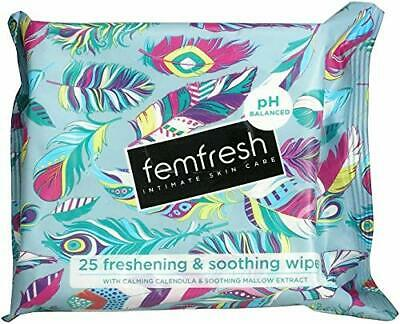 Femfresh Freshening & Soothing Cloths With Calendula & Aloe Extracts, Pack Of 25 • 2.81£