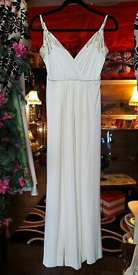 Vintage Dress 1980s John Rocha Ivory Grecian Cocktail Gown Cruise Ship • 30£