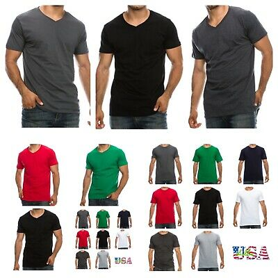 1, 3, 6 Pack Lot Men T-Shirt V-Neck & Crew Neck Tee Slim Fit Fashion Casual Tee • 28.60£