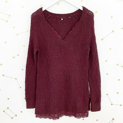 $ CDN32.67 • Buy Anthropologie Sweater Size XS Purple Lace Trim Pullover V Neck Tunic Long Sleeve