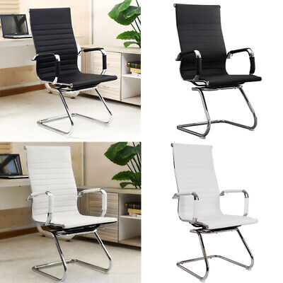 £125.95 • Buy Faux Leather Executive Office Chair Chrome Z Shaped Padded Seat Dining Chairs UK