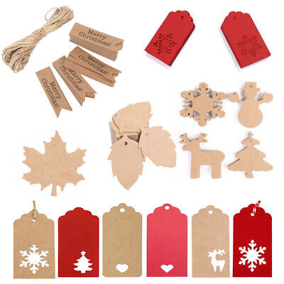 50 100 Kraft Paper Gift Tags Scallop Card Label Luggage Christmas Wedding Decor • 2.99£